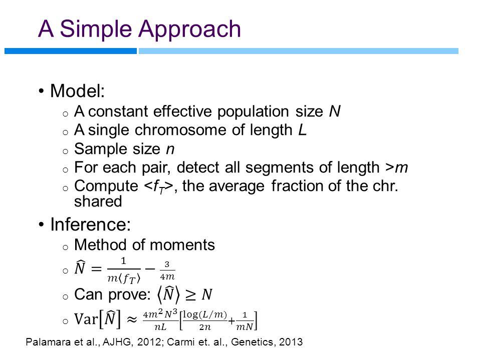 A Simple Approach Palamara et al., AJHG, 2012; Carmi et. al., Genetics, 2013