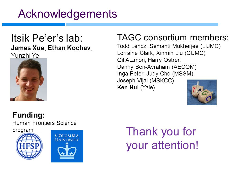 Acknowledgements Funding: Human Frontiers Science program Itsik Pe'er's lab: James Xue, Ethan Kochav, Yunzhi Ye TAGC consortium members: Todd Lencz, S