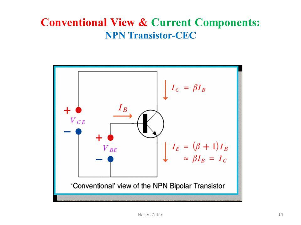 Conventional View & Current Components: NPN Transistor-CEC 19Nasim Zafar.