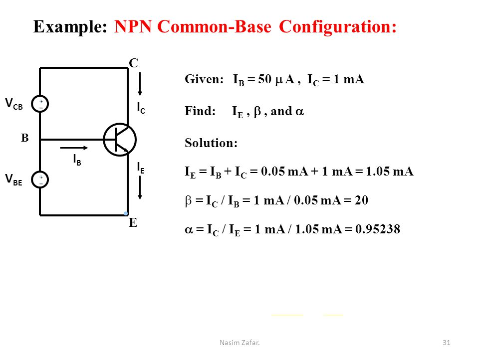 Example: NPN Common-Base Configuration: +_ +_ Given: I B = 50  A, I C = 1 mA Find: I E, , and  Solution: I E = I B + I C = 0.05 mA + 1 mA = 1.05 mA b = I C / I B = 1 mA / 0.05 mA = 20  = I C / I E = 1 mA / 1.05 mA = 0.95238 ICIC IEIE IBIB V CB V BE E C B 31Nasim Zafar.