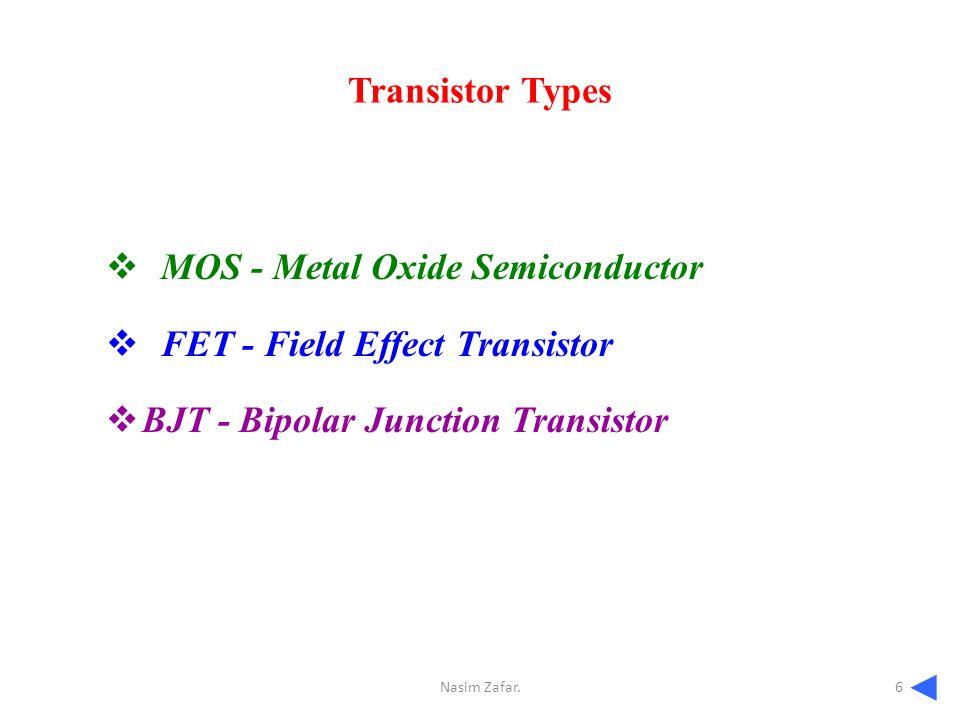 Transistor Types  MOS - Metal Oxide Semiconductor  FET - Field Effect Transistor  BJT - Bipolar Junction Transistor ◄◄◄◄ 6Nasim Zafar.