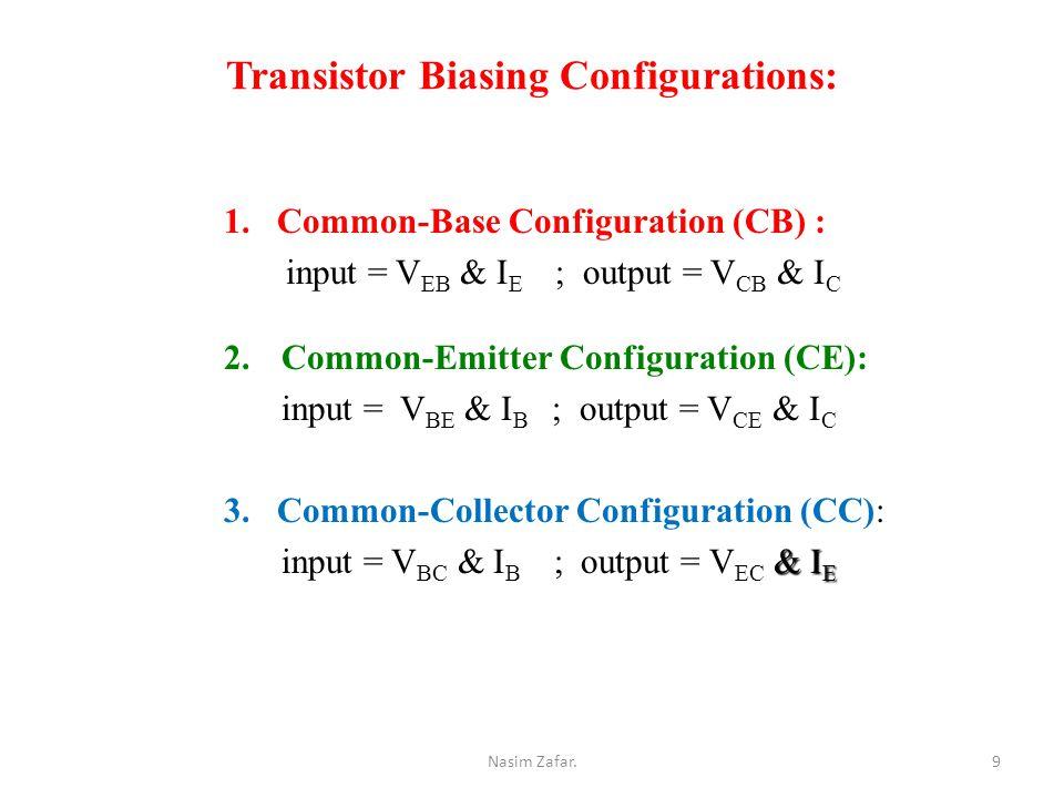 Transistor Biasing Configurations: 1.Common-Base Configuration (CB) : input = V EB & I E ; output = V CB & I C 2.