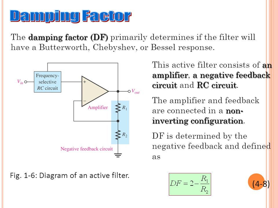 damping factor (DF) The damping factor (DF) primarily determines if the filter will have a Butterworth, Chebyshev, or Bessel response. an amplifiera n