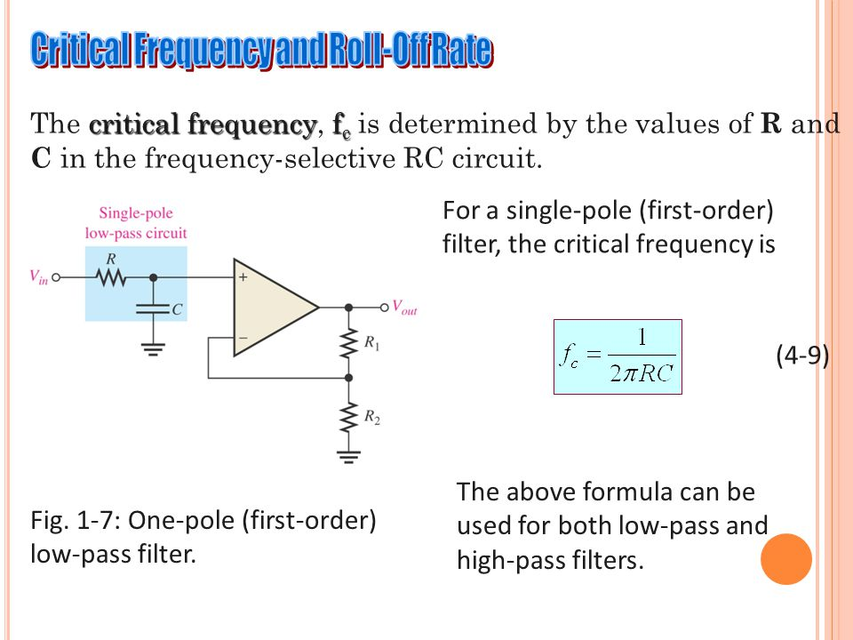 critical frequencyf c The critical frequency, f c is determined by the values of R and C in the frequency-selective RC circuit. For a single-pole (fir