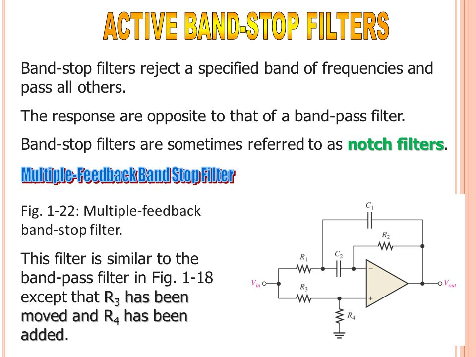 Band-stop filters reject a specified band of frequencies and pass all others. The response are opposite to that of a band-pass filter. notch filters B