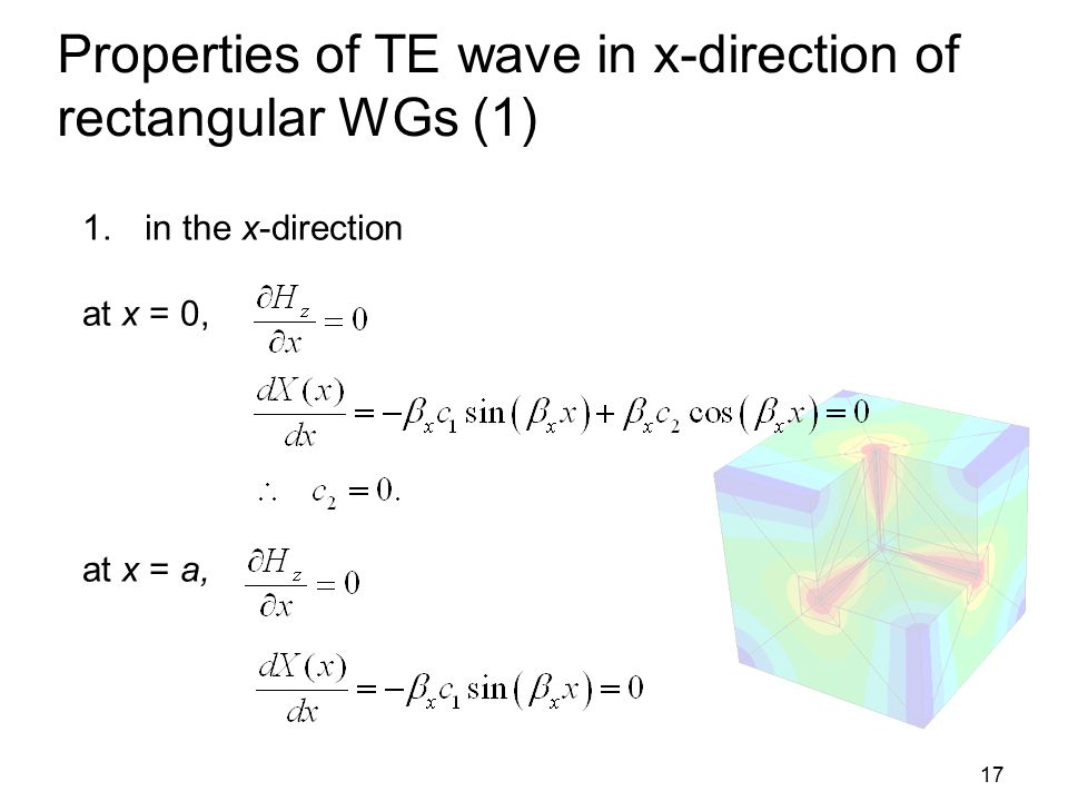 17 Properties of TE wave in x-direction of rectangular WGs (1) 1.in the x-direction at x = 0, at x = a,