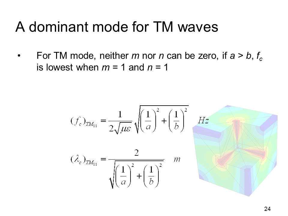 24 A dominant mode for TM waves For TM mode, neither m nor n can be zero, if a > b, f c is lowest when m = 1 and n = 1