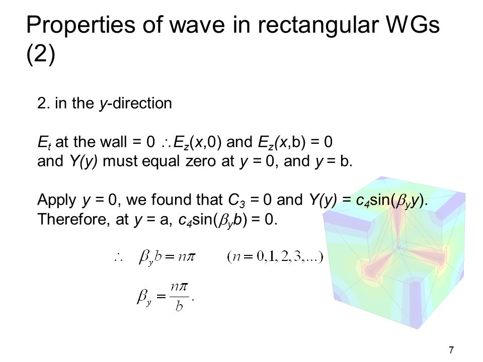 8 Properties of wave in rectangular WGs (3) and therefore we can write