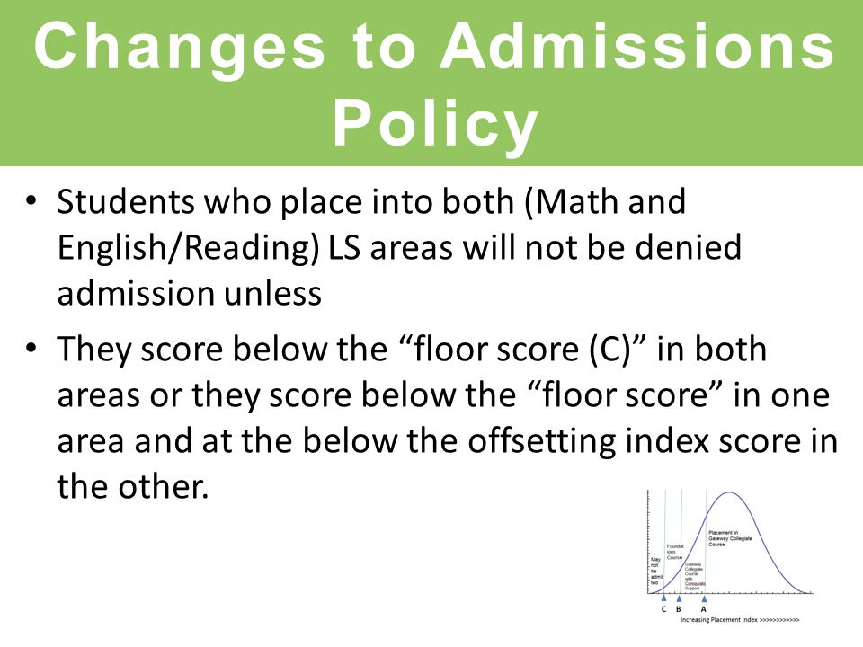 Changes to Admissions Policy Students who place into both (Math and English/Reading) LS areas will not be denied admission unless They score below the floor score (C) in both areas or they score below the floor score in one area and at the below the offsetting index score in the other.