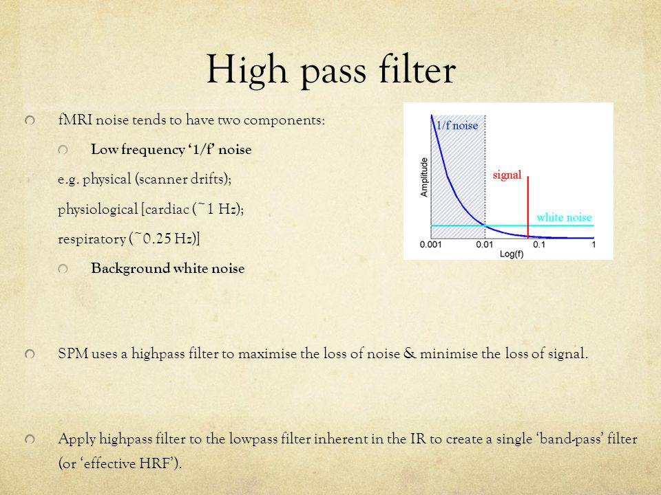 High pass filter fMRI noise tends to have two components: Low frequency '1/f' noise e.g.
