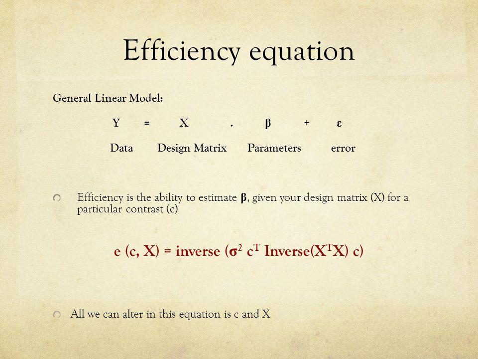 Efficiency equation General Linear Model: Y = X.