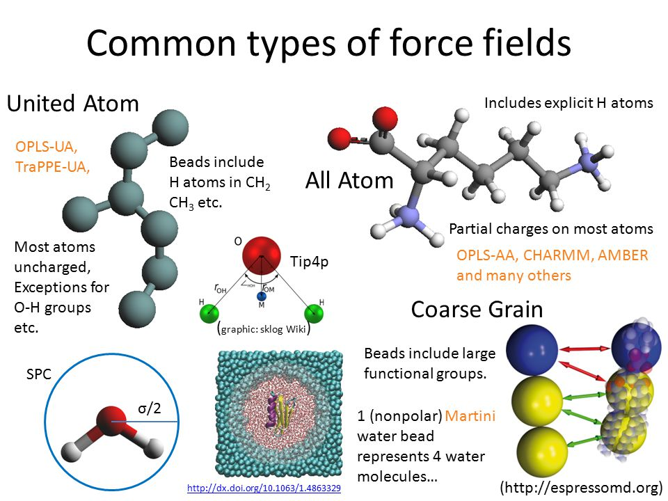 Common types of force fields United Atom Beads include H atoms in CH 2 CH 3 etc.