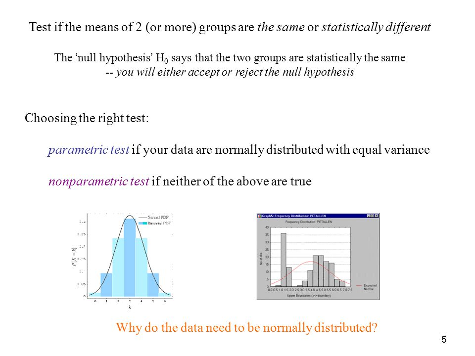 5 Test if the means of 2 (or more) groups are the same or statistically different The 'null hypothesis' H 0 says that the two groups are statistically the same -- you will either accept or reject the null hypothesis Choosing the right test: parametric test if your data are normally distributed with equal variance nonparametric test if neither of the above are true Why do the data need to be normally distributed