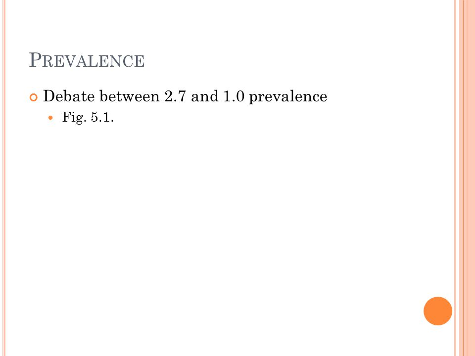 P REVALENCE Debate between 2.7 and 1.0 prevalence Fig. 5.1.
