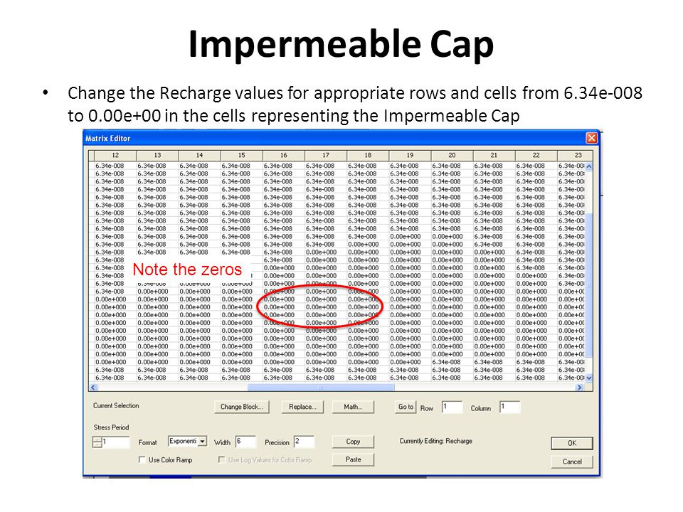 Recharge for Impermeable Cap You should end up with a Recharge distribution that looks like this: