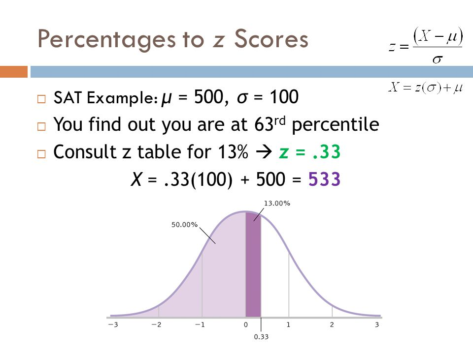 Percentages to z Scores  SAT Example: μ = 500, σ = 100  You find out you are at 63 rd percentile  Consult z table for 13%  z =.33 X =.33(100) + 50