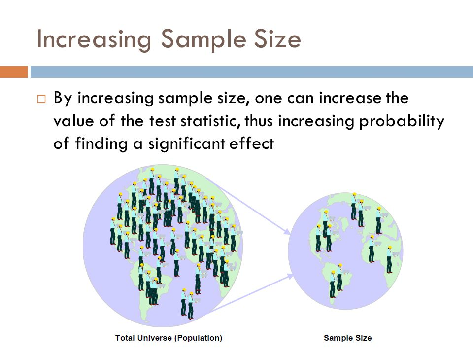 Increasing Sample Size  By increasing sample size, one can increase the value of the test statistic, thus increasing probability of finding a signifi