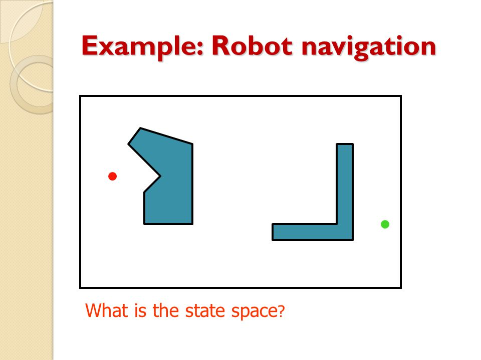 Example: Robot navigation What is the state space ?