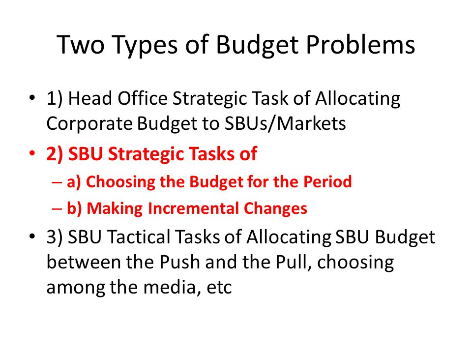 Two Types of Budget Problems 1) Head Office Strategic Task of Allocating Corporate Budget to SBUs/Markets 2) SBU Strategic Tasks of – a) Choosing the