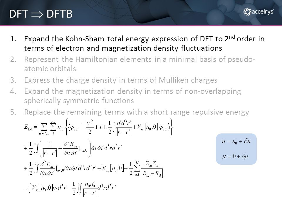 1.Expand the Kohn-Sham total energy expression of DFT to 2 nd order in terms of electron and magnetization density fluctuations 2.Represent the Hamilt