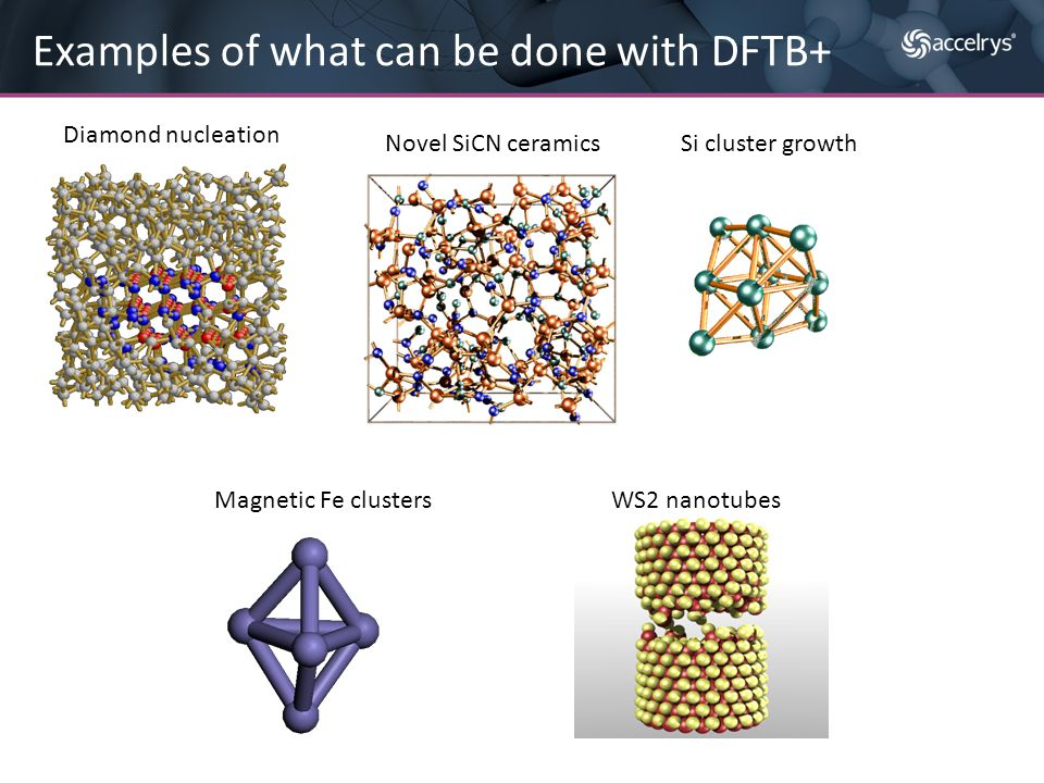 Examples of what can be done with DFTB+ Diamond nucleation Novel SiCN ceramicsSi cluster growth Magnetic Fe clustersWS2 nanotubes