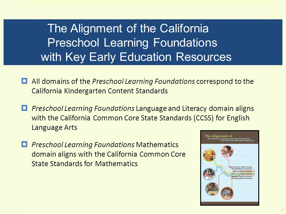 The Alignment of the California Preschool Learning Foundations with Key Early Education Resources  All domains of the Preschool Learning Foundations