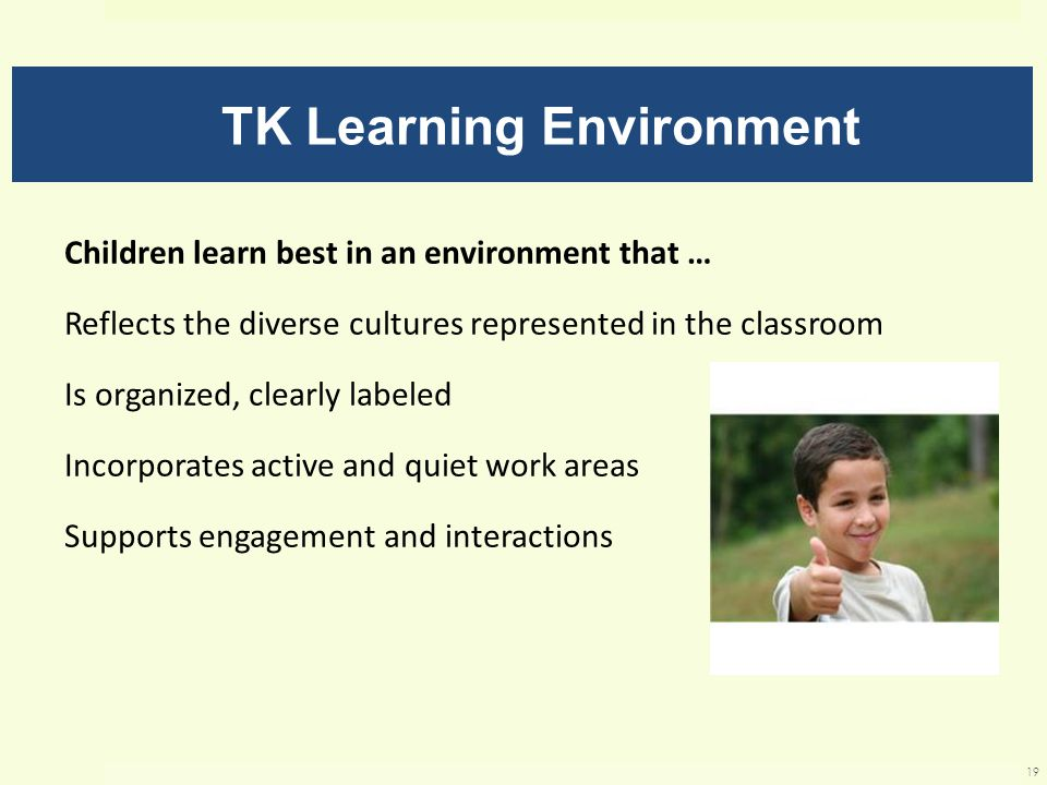 TK Learning Environment Children learn best in an environment that … Reflects the diverse cultures represented in the classroom Is organized, clearly labeled Incorporates active and quiet work areas Supports engagement and interactions 19