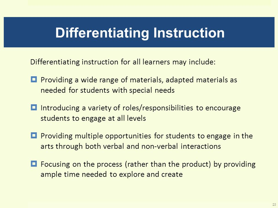Differentiating Instruction Differentiating instruction for all learners may include:  Providing a wide range of materials, adapted materials as needed for students with special needs  Introducing a variety of roles/responsibilities to encourage students to engage at all levels  Providing multiple opportunities for students to engage in the arts through both verbal and non-verbal interactions  Focusing on the process (rather than the product) by providing ample time needed to explore and create 23