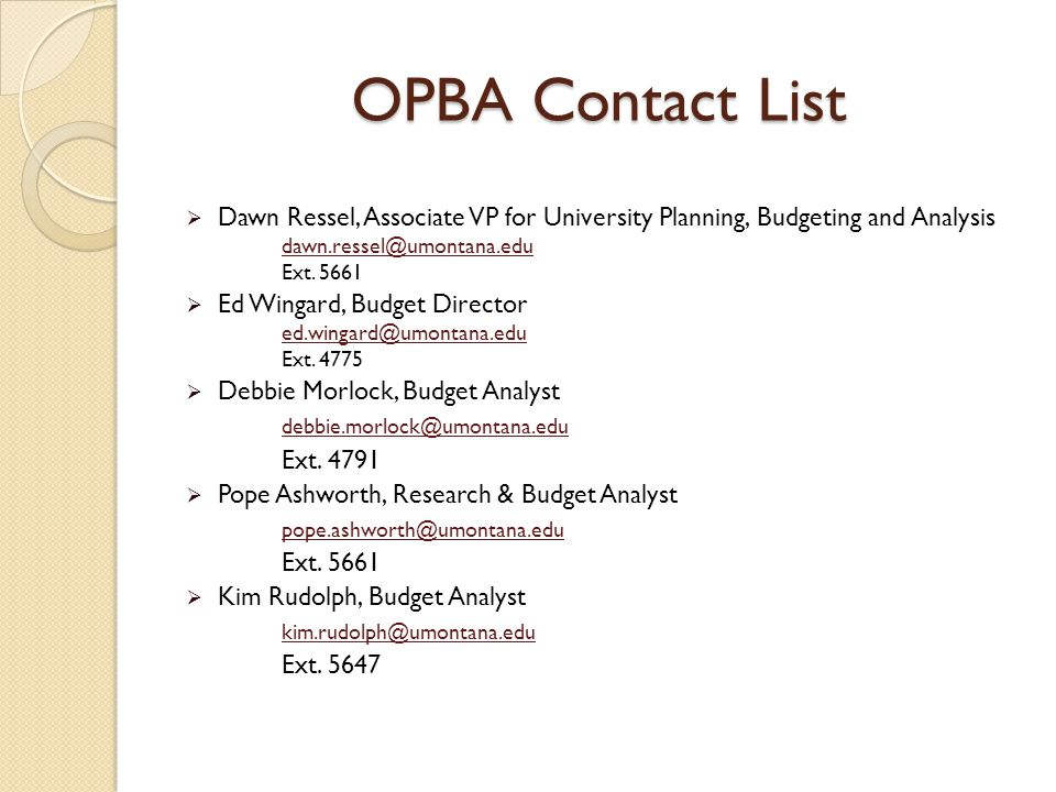 OPBA Contact List  Dawn Ressel, Associate VP for University Planning, Budgeting and Analysis dawn.ressel@umontana.edu Ext.