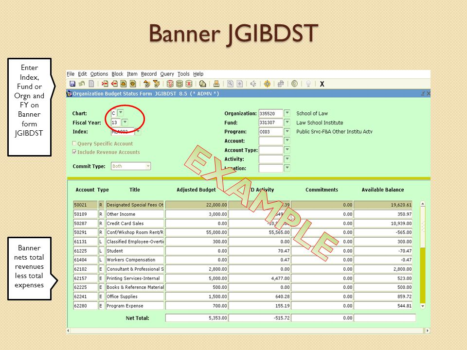 Banner JGIBDST Enter Index, Fund or Orgn and FY on Banner form JGIBDST Banner nets total revenues less total expenses