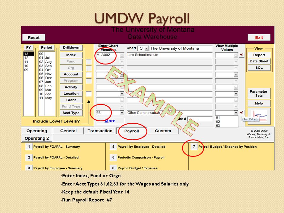 UMDW Payroll Enter Index, Fund or Orgn Enter Acct Types 61,62,63 for the Wages and Salaries only Keep the default Fiscal Year 14 Run Payroll Report #7