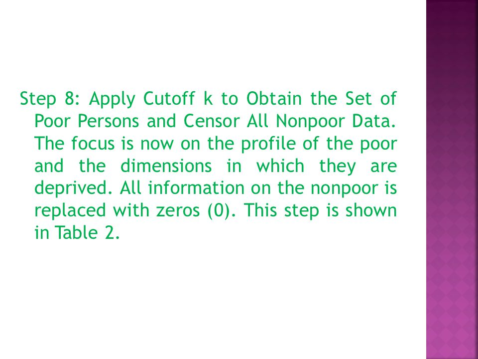 Step 8: Apply Cutoff k to Obtain the Set of Poor Persons and Censor All Nonpoor Data.