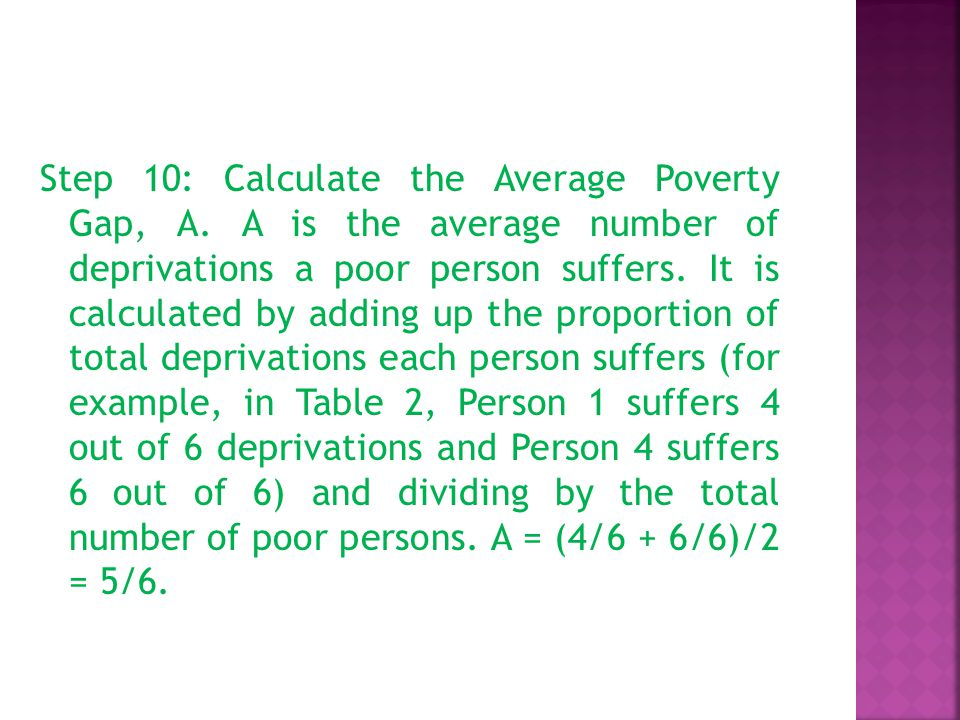 Step 10: Calculate the Average Poverty Gap, A.