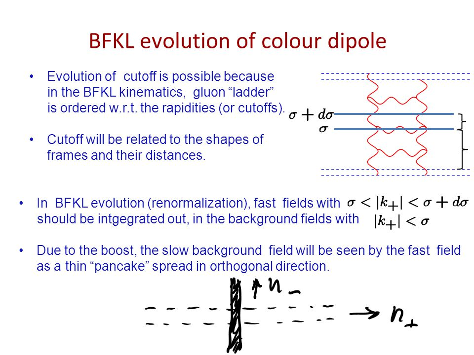 "BFKL evolution of colour dipole Evolution of cutoff is possible because in the BFKL kinematics, gluon ""ladder"" is ordered w.r.t. the rapidities (or cu"
