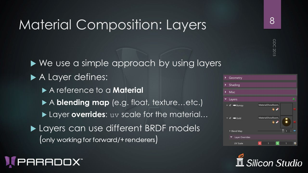 Material Composition: Layers  We use a simple approach by using layers  A Layer defines:  A reference to a Material  A blending map (e.g.