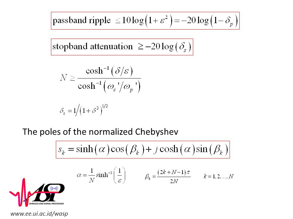 www.ee.ui.ac.id/wasp The poles of the normalized Chebyshev