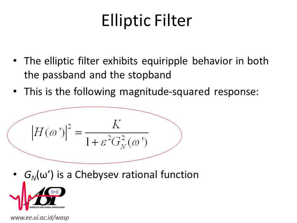 www.ee.ui.ac.id/wasp Elliptic Filter The elliptic filter exhibits equiripple behavior in both the passband and the stopband This is the following magn