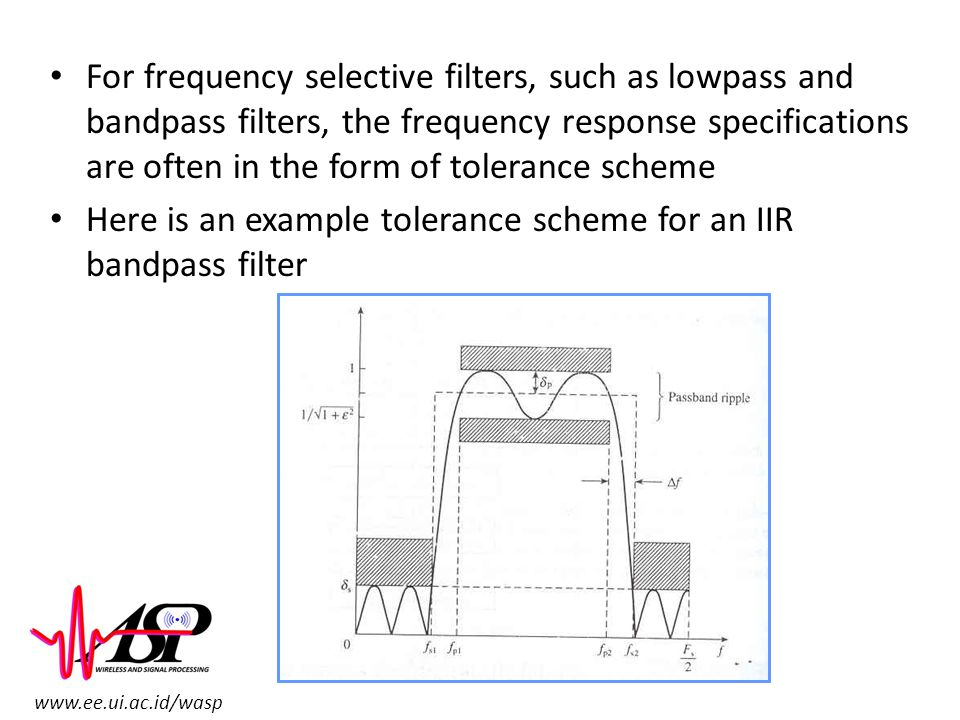 www.ee.ui.ac.id/wasp For frequency selective filters, such as lowpass and bandpass filters, the frequency response specifications are often in the for