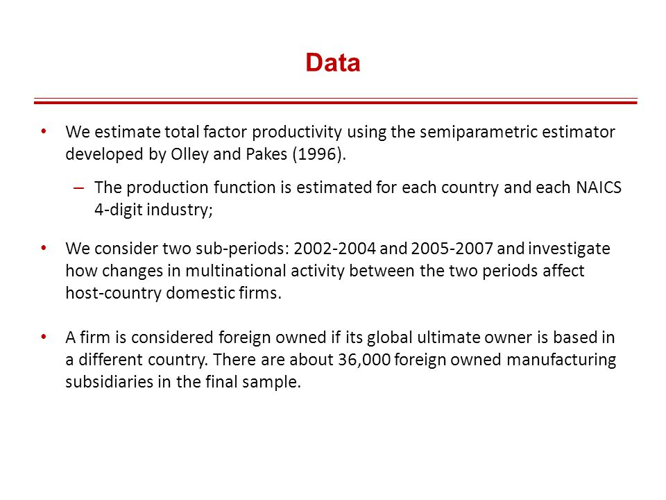 Data We estimate total factor productivity using the semiparametric estimator developed by Olley and Pakes (1996).