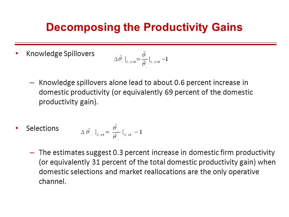 Decomposing the Productivity Gains Knowledge Spillovers – Knowledge spillovers alone lead to about 0.6 percent increase in domestic productivity (or equivalently 69 percent of the domestic productivity gain).