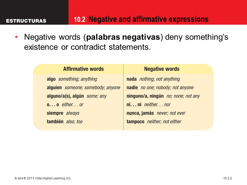 10.2 Negative and affirmative expressions © and ® 2011 Vista Higher Learning, Inc.10.2-2 Negative words (palabras negativas) deny something's existenc