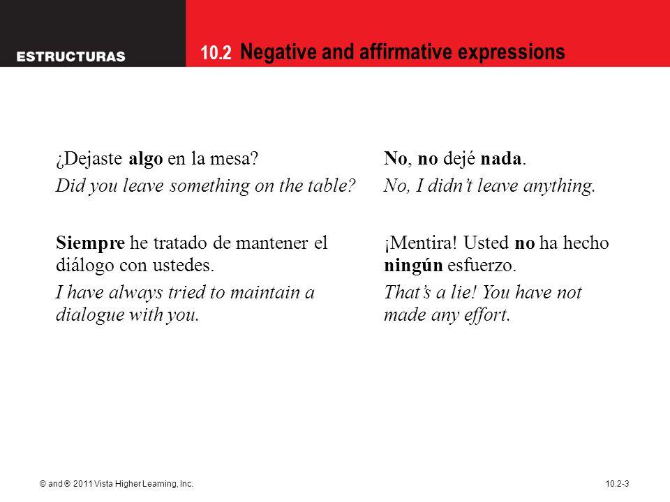 10.2 Negative and affirmative expressions © and ® 2011 Vista Higher Learning, Inc.10.2-3 ¿Dejaste algo en la mesa? Did you leave something on the tabl