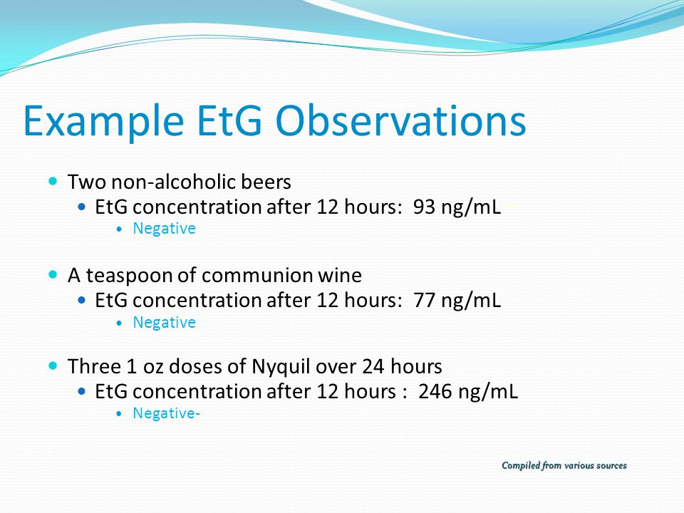 Example EtG Observations Two non-alcoholic beers EtG concentration after 12 hours: 93 ng/mL – Negative A teaspoon of communion wine EtG concentration after 12 hours: 77 ng/mL Negative Three 1 oz doses of Nyquil over 24 hours EtG concentration after 12 hours : 246 ng/mL Negative- Compiled from various sources