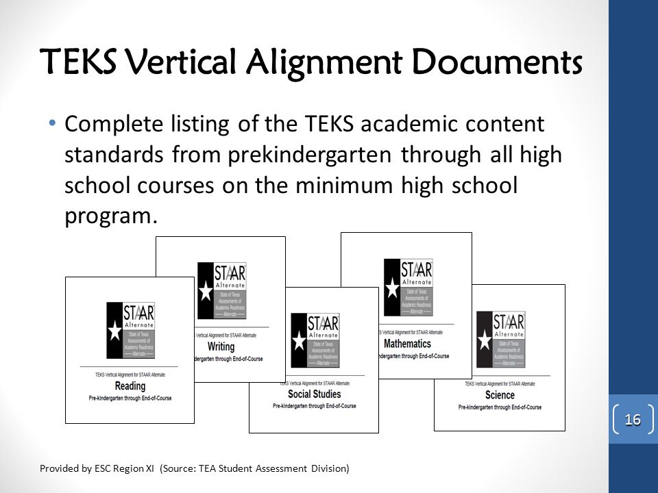 TEKS Vertical Alignment Documents Complete listing of the TEKS academic content standards from prekindergarten through all high school courses on the