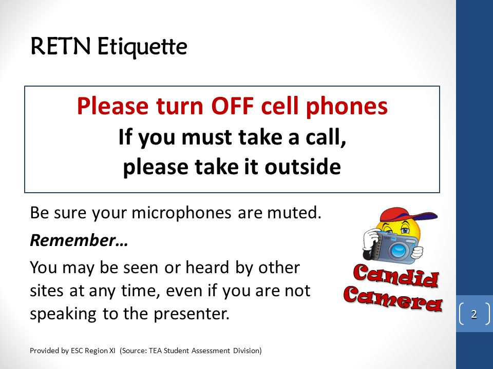 RETN Etiquette Please turn OFF cell phones If you must take a call, please take it outside Provided by ESC Region XI (Source: TEA Student Assessment D