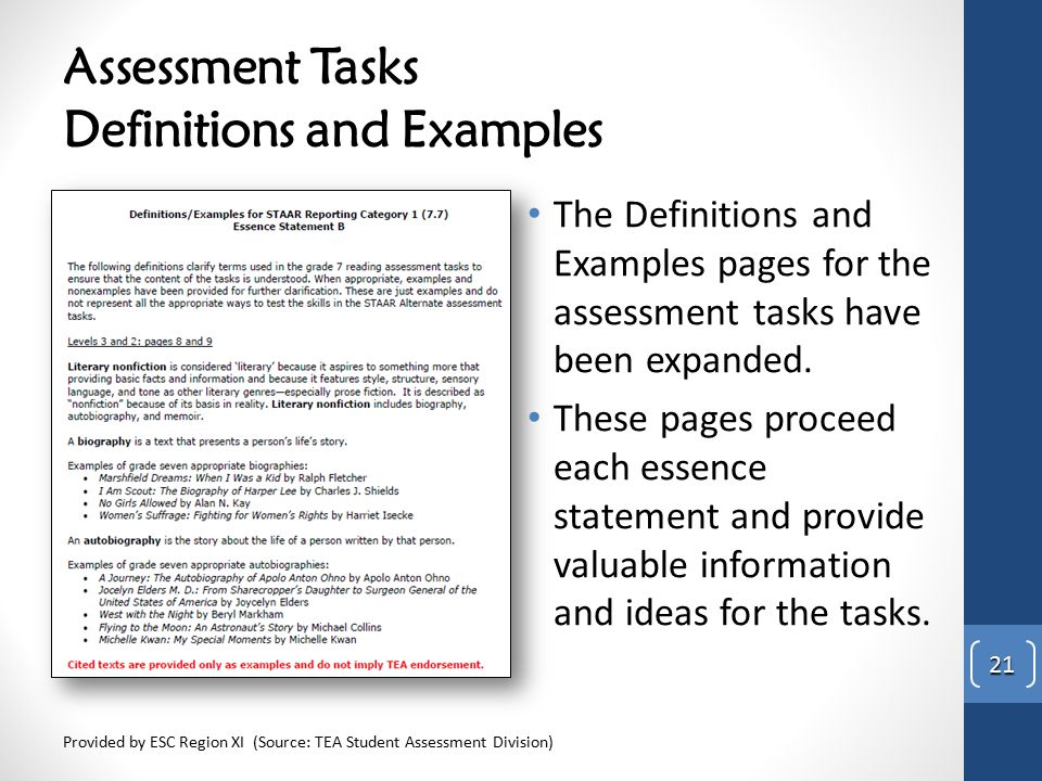 Assessment Tasks Definitions and Examples The Definitions and Examples pages for the assessment tasks have been expanded. These pages proceed each ess