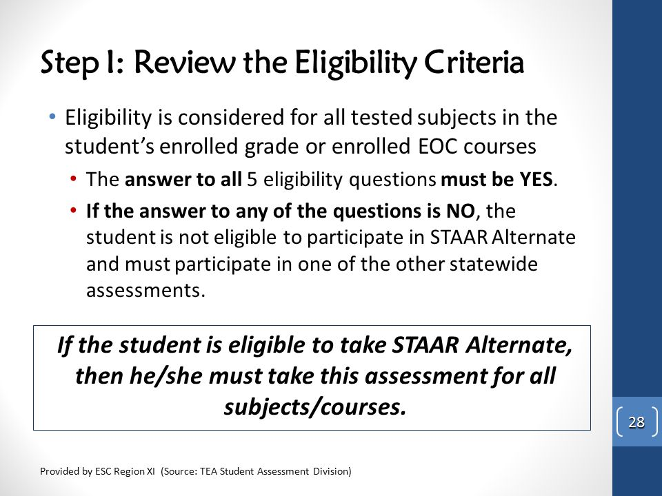 Step I: Review the Eligibility Criteria Eligibility is considered for all tested subjects in the student's enrolled grade or enrolled EOC courses The