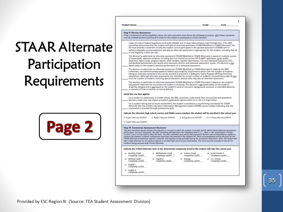 STAAR Alternate Participation Requirements Provided by ESC Region XI (Source: TEA Student Assessment Division) 35