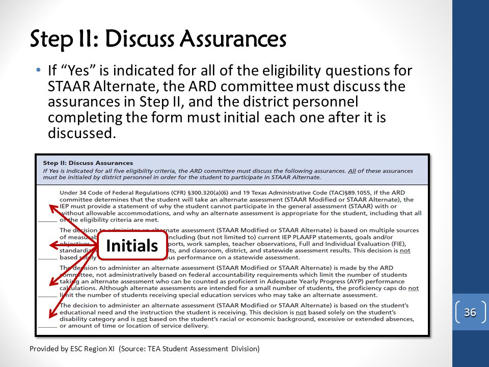 "Step II: Discuss Assurances If ""Yes"" is indicated for all of the eligibility questions for STAAR Alternate, the ARD committee must discuss the assuran"