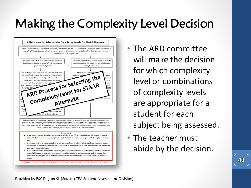 Making the Complexity Level Decision The ARD committee will make the decision for which complexity level or combinations of complexity levels are appr